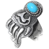 Navajo Turquoise Silver Bear Paw Ring 35234