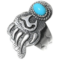 Navajo Turquoise Silver Bear Paw Ring 35234