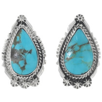 Navajo Turquoise Teardrop Earrings 35235