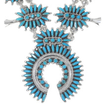 Sleeping Beauty Turquoise Squash Blossom Necklace 35237