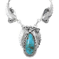 Silver Link Chain Y Necklace Turquoise Mountain Stone 35240