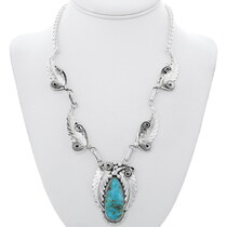 Navajo Sterling Silver Turquoise Necklace 35240