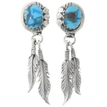 Turquoise Silver Navajo Feather Earrings 35243