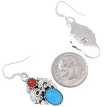 Turquoise Coral Western Silver Earrings 35247