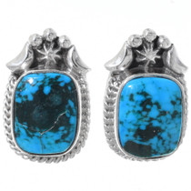 Navajo Turquoise Silver Stud Earrings 35248