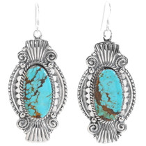 Navajo Number 8 Turquoise Earrings 35249