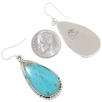 Sterling Silver Navajo Made Turquoise Earrings Artist Signed 35251