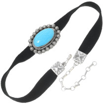 Turquoise Black Leather Choker 35254