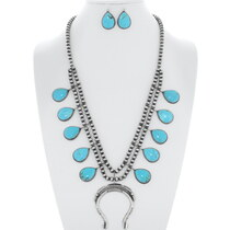 Turquoise Squash Blossom Navajo Necklace Set 35261