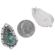 Navajo Green Turquoise Silver Earrings 35264