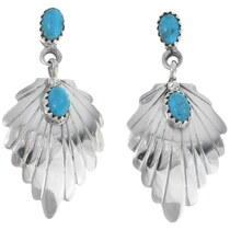 Navajo Turquoise Sterling Silver Dangle Earrings 35265