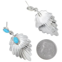 Silver Fan Western Turquoise Earrings 35265