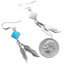 Navajo Sterling Silver Feather Dangle Earrings 35268