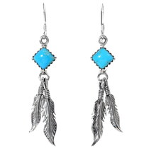 Turquoise Silver Feather Earrings 35268