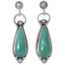 Green Turquoise Silver Navajo Earrings 35270