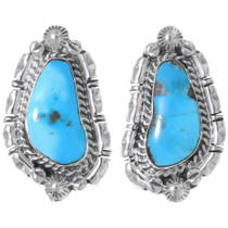 Navajo Sleeping Beauty Turquoise Silver Earrings 35271