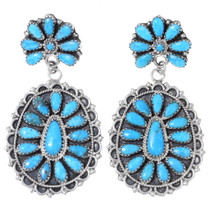 Turquoise Cluster Earrings Navajo Made 35275