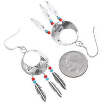 Navajo Sterling Silver Western Feather Earrings 35276