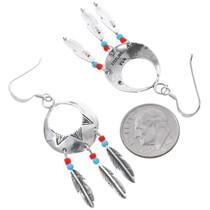 Navajo Sterling Silver Western Feather Earrings 35276