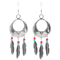 Turquoise Coral Feather Dangle Earrings 35276