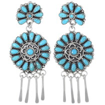 Sterling Silver Navajo Turquoise Earrings 35278