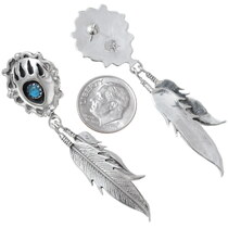 Navajo Bear Paw Earrings Sterling Silver Feathers 35281
