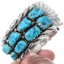 Turquoise Nugget Hand Made Zuni Watch Bracelet 35282