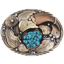 Vintage Turquoise Gold Bear Claw Belt Buckle 35286