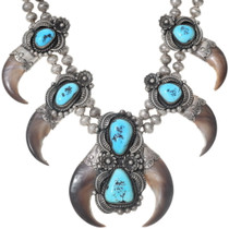 Sleeping Beauty Turquoise Bear Claw Necklace 35287