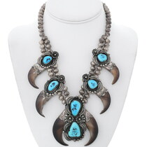 Old Pawn Bear Claw Turquoise Squash Blossom Necklace 35287
