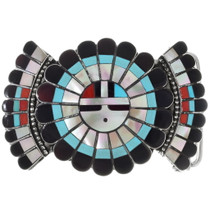 Vintage Inlaid Sunface Belt Buckle 35288