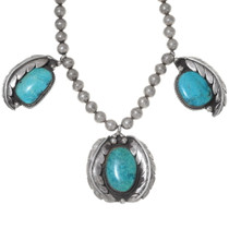 Old Pawn Navajo Turquoise Silver Necklace 35291