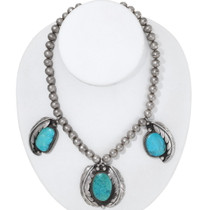 Vintage 1960s Turquoise Navajo Necklace 35291