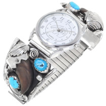 Sterling Silver Turquoise Bear Claw Watch 35295