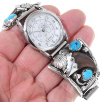 Old Pawn Navajo Bear Claw Watch 35295