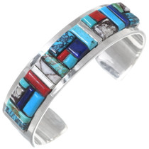 Navajo Turquoise Inlay Silver Cuff Bracelet 35297