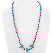Vintage Turquoise Glass Trade Bead Necklace 35299