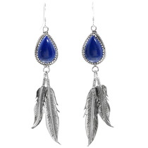 Lapis Lazuli Silver Feather Earrings 35302