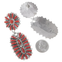 Native American Sterling Silver Red Coral Earrings 35304