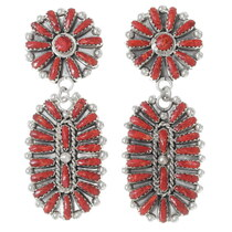 Coral Earrings Navajo Made 35304