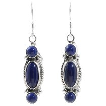 Lapis Silver Navajo Earrings 35305