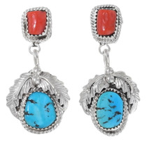 Turquoise Coral Silver Navajo Earrings 35306