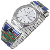 Navajo Inlaid Silver Turquoise Lapis Watch 35311