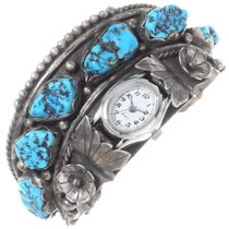 Vintage Turquoise Nugget Watch Cuff 35312