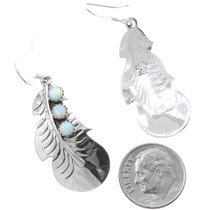 Fire Opal Navajo Silver Feather Dangle Earrings 35315