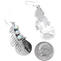 Fire Opal Navajo Silver Feather Dangle Earrings 35315