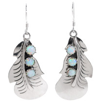 Sterling Silver Opal Feather Earrings 35315