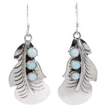 Sterling Silver Opal Feather Earrings 35315
