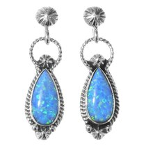 Blue Opal Native American Earrings 35319
