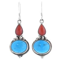 Navajo Turquoise Coral Dangle Earrings 35322